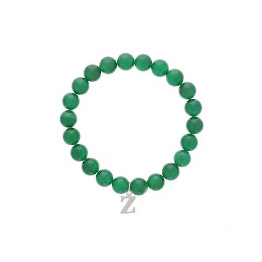 DBJ-BRC-2807EGQ: Sterling silver initial  charm  with  green quartzite