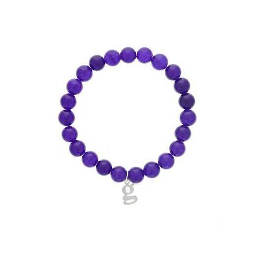 DBJ-BRC-2807PQ: Sterling silver initial  charm  with  purple quartzite