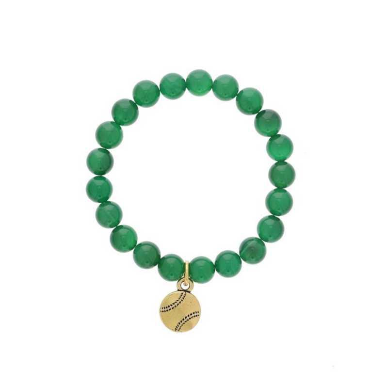 DBJ-BRC-2808EGQ: Gold tone Pewter baseball charm  with  green quartzite