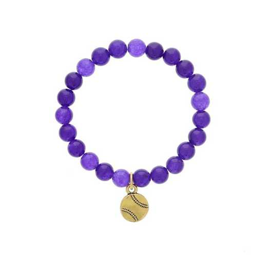 DBJ-BRC-2808PQ: Gold tone Pewter baseball charm  with  purple quartzite