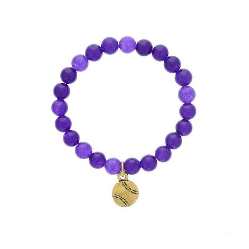 DBJ-BRC-2808PQ: Gold tone Pewter baseball charm  with  purple quartzite