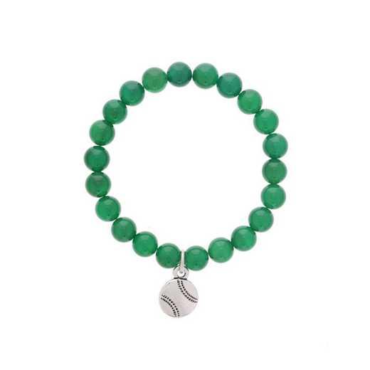 DBJ-BRC-2809EGQ: Silver tone Pewter baseball charm with green quartzite