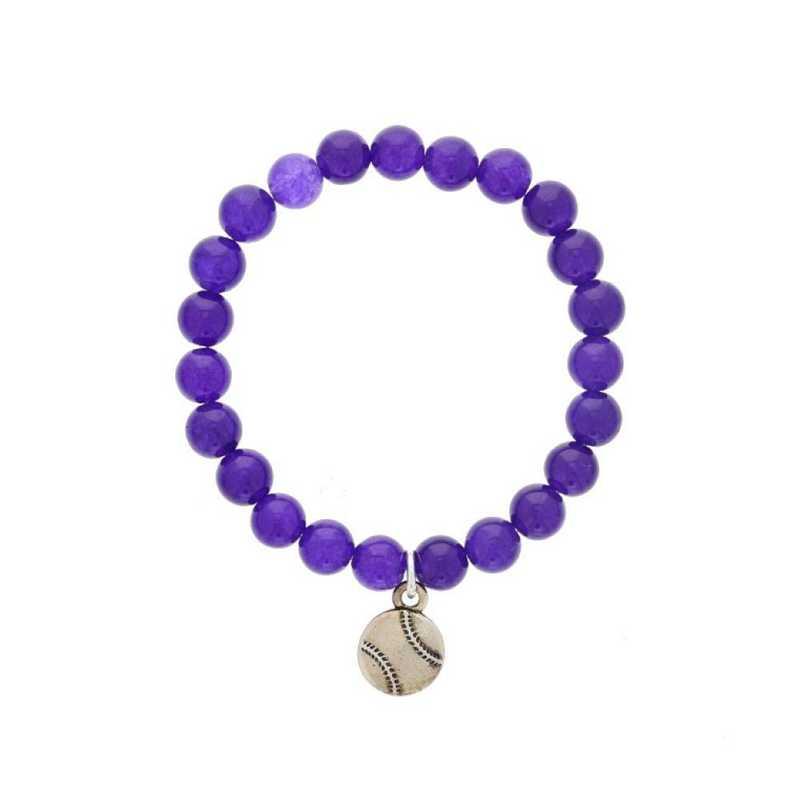 DBJ-BRC-2809PQ: Silver tone Pewter baseball charm  with  purple quartzite