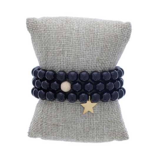 DBJ-STK-2814SBA: Gold filled shimmer bead and 14kt gold plated star charm
