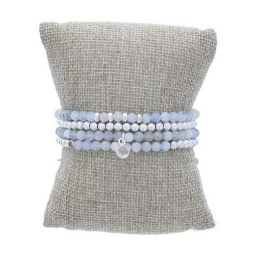 DBJ-STK-2825AQ: Sterling silver beads and quartz drop charm with  aquamarine