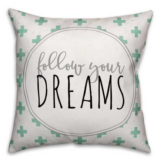 3963-Cf: 18X18 Pillow Follow Your Dreams