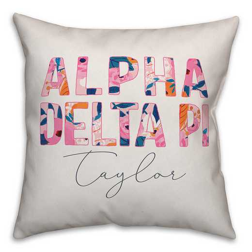 5579-AE: Bright Florals - Alpha Delta Pi 18x18 Personalized Throw Pillow