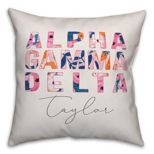 5579-AF: Bright Florals - Alpha Gamma Delta 18x18 Personalized Throw Pillow