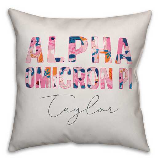 5579-AG: Bright Florals - Alpha Omicron Pi 18x18 Personalized Throw Pillow