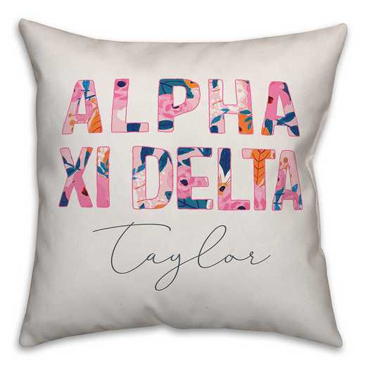 5579-AH: Bright Florals - Alpha Xi Delta 18x18 Personalized Throw Pillow