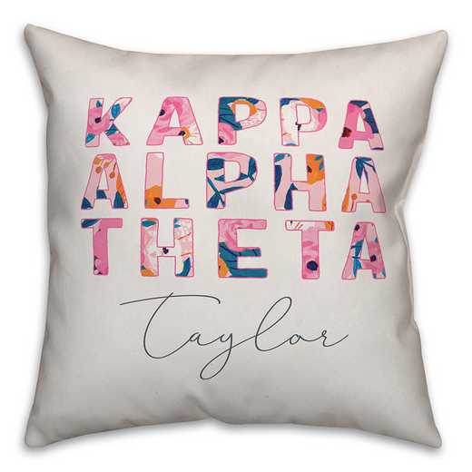 5579-AI: Bright Florals - Kappa Alpha Theta 18x18 Personalized Throw Pillow
