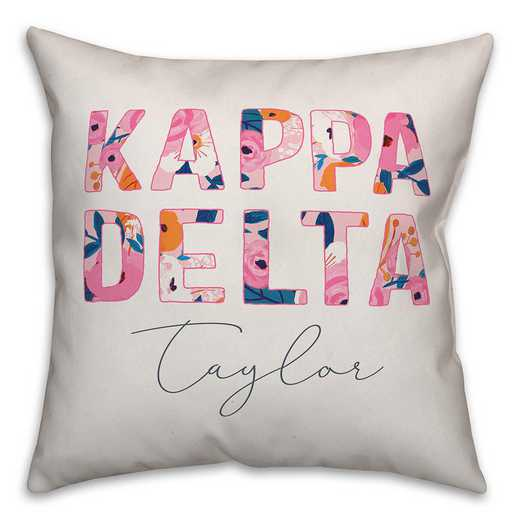 5579-AJ: Bright Florals - Kappa Delta 18x18 Personalized Throw Pillow