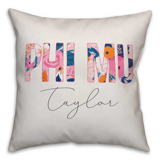 5579-AK: Bright Florals - Phi Mu 18x18 Personalized Throw Pillow