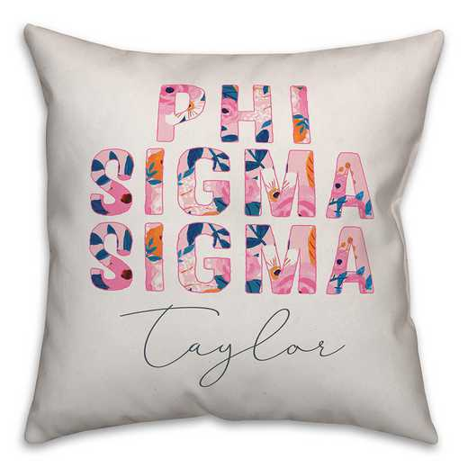 5579-AL: Bright Florals - Phi Sigma Sigma 18x18 Personalized Throw Pillow