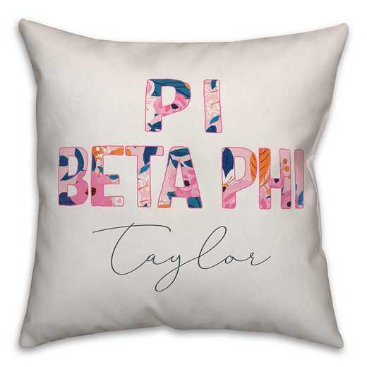 5579-AM: Bright Florals - Pi Beta Phi 18x18 Personalized Throw Pillow