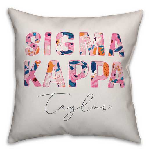 5579-AN: Bright Florals - Sigma Kappa 18x18 Personalized Throw Pillow