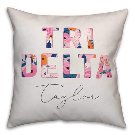 5579-AO: Bright Florals - Delta Delta Delta 18x18 Personalized Throw Pillow