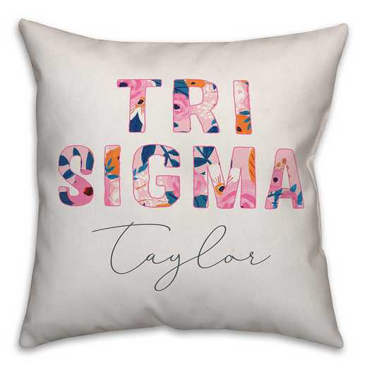 5579-AP: Bright Florals - Sigma Sigma Sigma 18x18 Personalized Throw Pillow