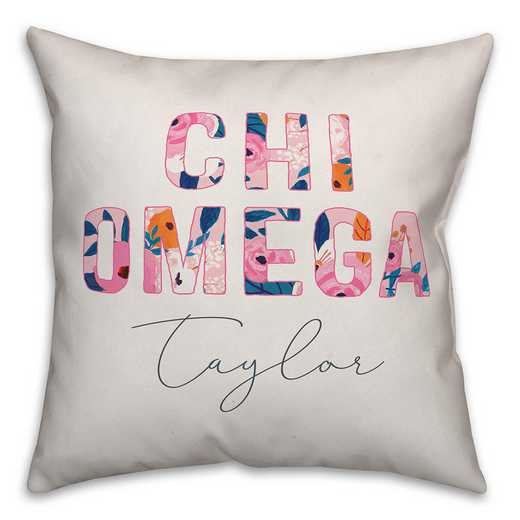 5579-AQ: Bright Florals - Chi Omega 18x18 Personalized Throw Pillow