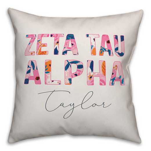 5579-AR: Bright Florals - Zeta Tau Alpha 18x18 Personalized Throw Pillow