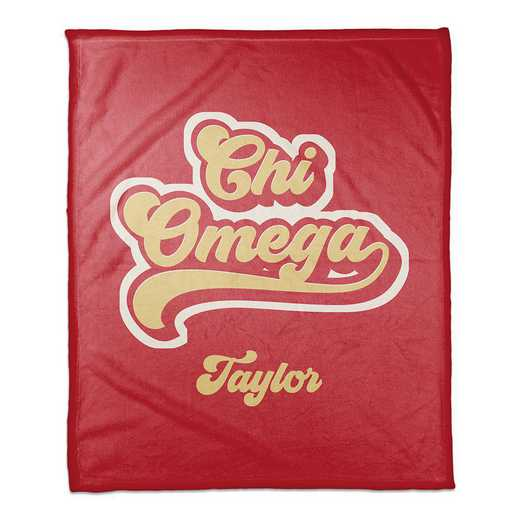 5579-BW: Retro Script - Chi Omega 50x60 Personalized Throw Blanket