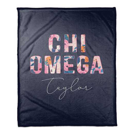 5579-CG: Bright Florals - Chi Omega 50x60 Personalized Throw Blanket