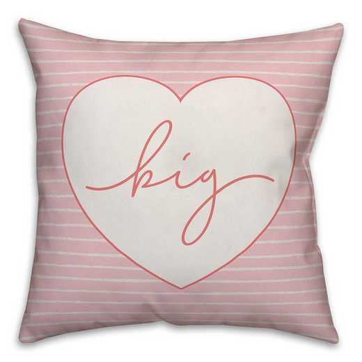 5579-CQ: Big Script Heart 18x18 Throw Pillow