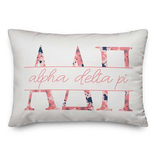 5579-M1: Floral Greek Letters - Alpha Delta Pi 14x20 Throw Pillow