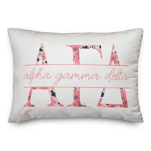 5579-M2: Floral Greek Letters - Alpha Gamma Delta 14x20 Throw Pillow