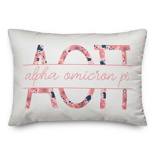 5579-M3: Floral Greek Letters - Alpha Omicron Pi 14x20 Throw Pillow