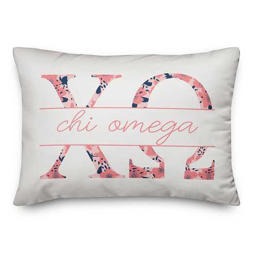5579-M5: Floral Greek Letters - Chi Omega 14x20 Throw Pillow