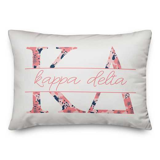 5579-M7: Floral Greek Letters - Kappa Delta 14x20 Throw Pillow