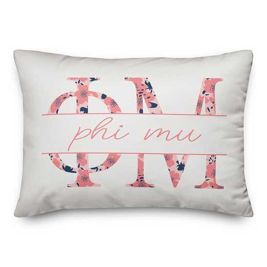 5579-M9: Floral Greek Letters - Phi Mu 14x20 Throw Pillow