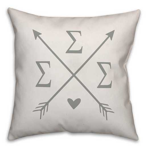 5579-N11: Crossed Arrows - Sigma Sigma Sigma 18x18 Throw Pillow