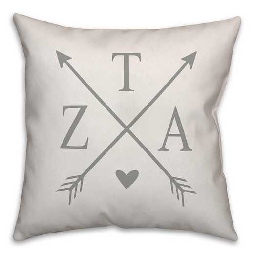 5579-N13: Crossed Arrows - Zeta Tau Alpha 18x18 Throw Pillow