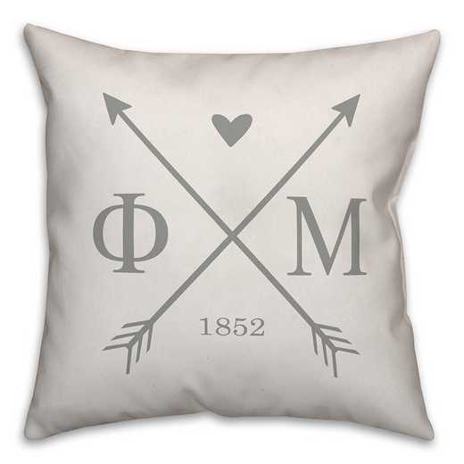 5579-N8: Crossed Arrows - Phi Mu 18x18 Throw Pillow
