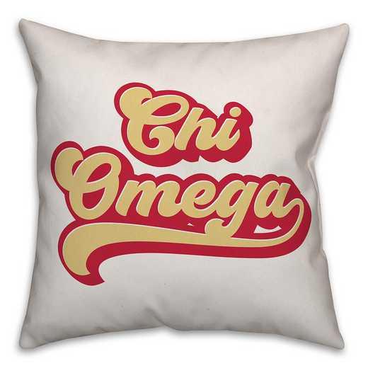 5579-P5: Retro Script - Chi Omega 18x18 Throw Pillow