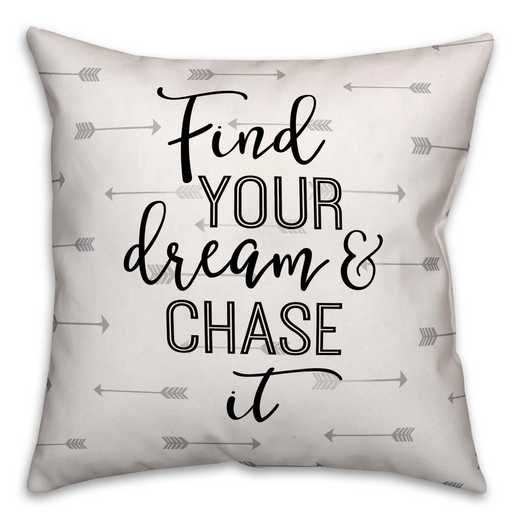 4627-AB: 18X18 Pillow Find Your Dream & Chase It