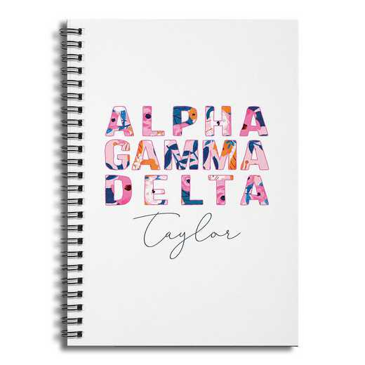 5581-BO: Floral Alpha Gamma Delta 6x8 Pers Ruled Spiral Notebook