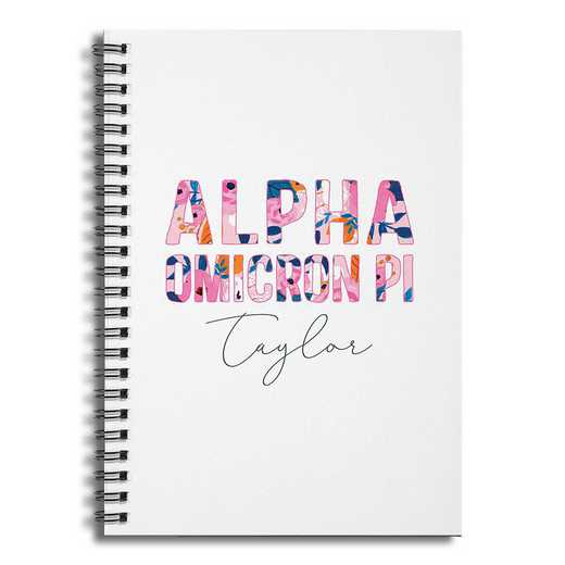 5581-BP: Floral Alpha Omicron Pi 6x8 Pers Ruled Spiral Notebook