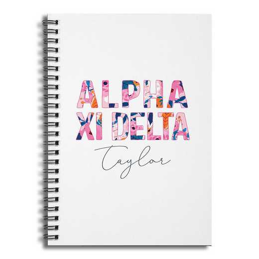 5581-BQ: Floral Alpha Xi Delta 6x8 Pers Ruled Spiral Notebook