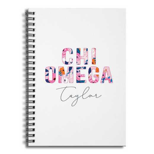5581-BR: Floral Chi Omega 6x8 Pers Ruled Spiral Notebook