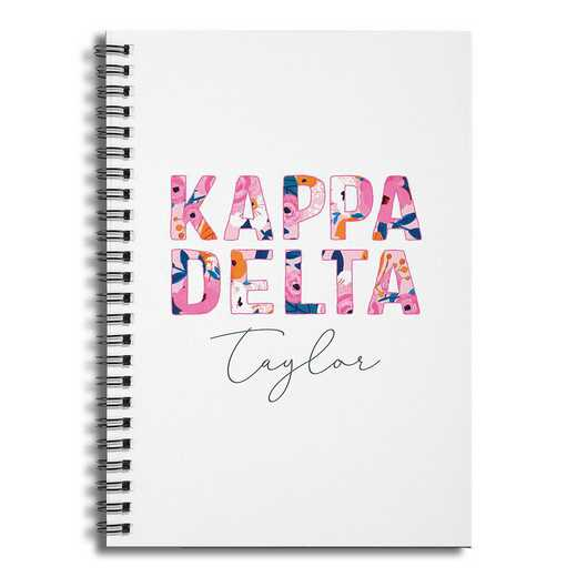 5581-BT: Floral Kappa Delta 6x8 Pers Ruled Spiral Notebook