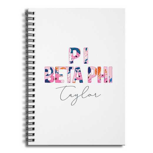 5581-BU: Floral Pi Beta Phi 6x8 Pers Ruled Spiral Notebook