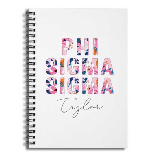 5581-BW: Floral Phi Sigma Sigma 6x8 Pers Ruled Spiral Notebook