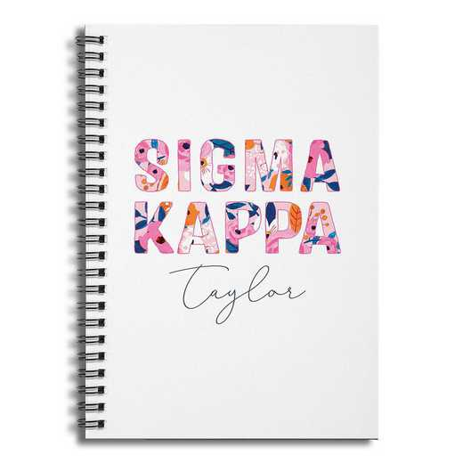 5581-BX: Floral Sigma Kappa 6x8 Pers Ruled Spiral Notebook