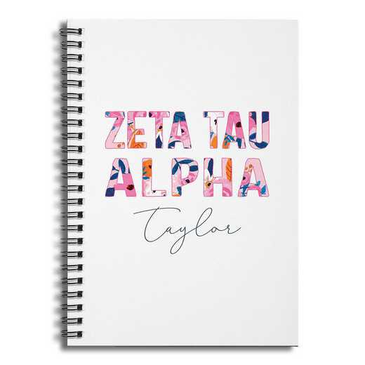 5581-CA: Floral Zeta Tau Alpha 6x8 Pers Ruled Spiral Notebook