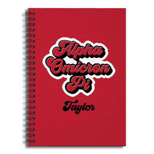 5581-CE: Retro Alpha Omicron Pi 6x8 Pers Ruled Spiral Notebook