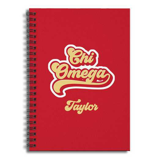 5581-CF: Retro Chi Omega 6x8 Pers Ruled Spiral Notebook