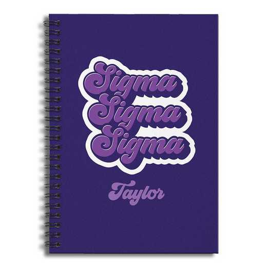 5581-CN: Retro Sigma Sigma Sigma 6x8 Pers Ruled Spiral Notebook